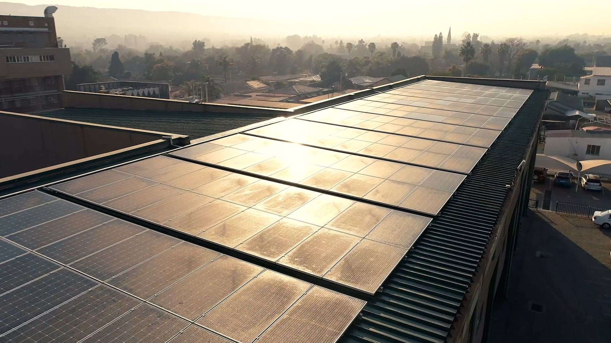 solar panels on a rooftop